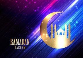 Ramadan Kareem sfondo con luci incandescenti vettore