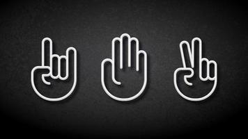 segni della mano di forbici di carta di roccia al neon bianco vettore