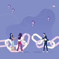 gli uomini d'affari uniscono la catena vettore