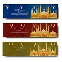 saluto del Ramadan con moschea d'oro vettore