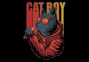 ragazzo gatto in occhiali con pesce vettore