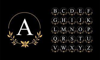 set alfabeto corona di foglie d'oro vettore