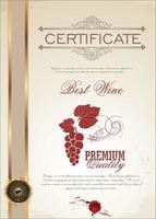 modello di certificato di vino con decalcomania d'oro