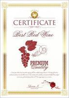 modello di certificato cornice oro con immagine di uva rossa