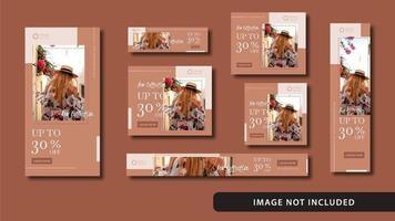 set di social media moda e banner web vettore