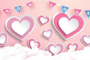 mamma amore testo nel disegno cuore ghirlanda rosa