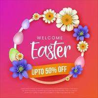 poster di vendita gradiente di Pasqua con ghirlanda floreale vettore