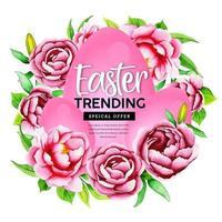 disegno di fiori e uova rosa dell'acquerello vettore