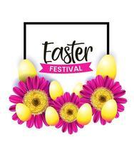 design est con cornice, fiori rosa e uova vettore