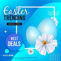poster di vendita di Pasqua geometrica blu vettore