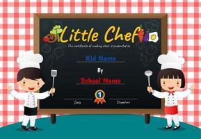 diploma di scacchiera rossa e lavagna piccolo diploma di chef