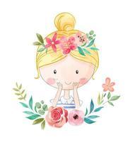 ragazza in corona floreale vettore