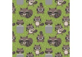 Seamless Vector Cartoon Raccoon Pattern