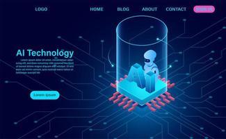 landing page di concetto di tecnologia di intelligenza artificiale vettore