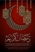 poster di Ramadan Kareem con elementi decorati su rosso