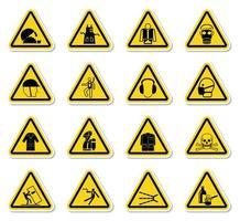 set di simboli di avvertenza pericolo vettore