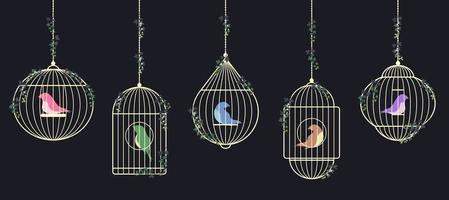 insieme di uccelli in gabbie d'oro