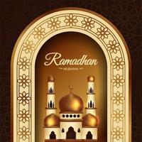 poster di Ramadan Mubarak con moschea sotto l'arco vettore