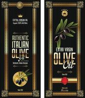 set di etichette retrò di olio d'oliva vettore