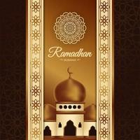 poster di Ramadan Mubarak con moschea e motivo elegante vettore