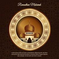 poster di Ramadan Mubarak con moschea nella cornice del cerchio