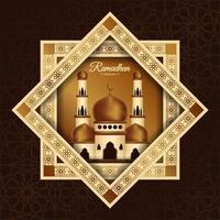 poster di Ramadan Mubarak con moschea nella cornice a stella