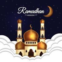 poster di Ramadan Mubarak con moschea nelle nuvole