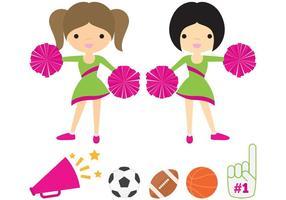 Cheerleaders con il pacchetto di vettore Pom Poms