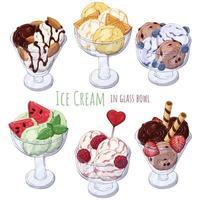 gruppo di palline di gelato vettore