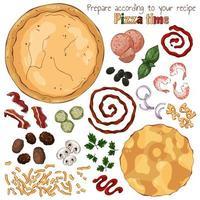 gruppo di illustrazioni colorate vettoriali sul tema del tempo pizza, set di prodotti isolati per cucinare la pizza.
