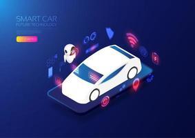sito web di auto intelligenti isometriche vettore