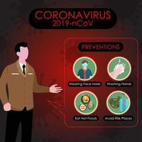 conduttore di notizie che parla della prevenzione covid-19 vettore