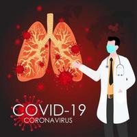 medico che mostra il virus covid-19 all'interno di una coppia di polmoni