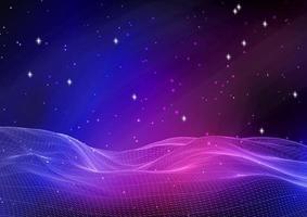 paesaggio astratto del wireframe contro il cielo della galassia vettore