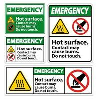 la superficie calda di emergenza non tocca l'insieme dei segni