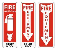 insieme del segno dell'attrezzatura antincendio vettore