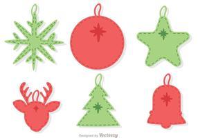 Pacchetto di vettore di decorazione ornamento di Natale cucita