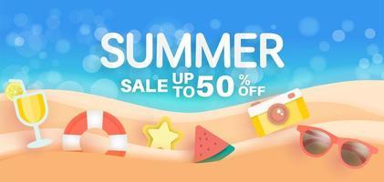 banner di vendita estiva con elementi estivi sulla spiaggia vettore