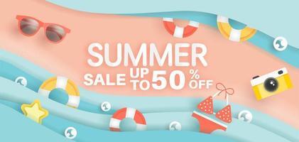 banner di vendita estate scena di spiaggia vettore