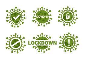 romanzo corona virus o covid-19 set di icone