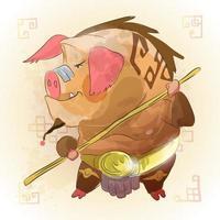 cartone animato animale maiale zodiaco cinese vettore