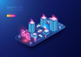 città intelligente isometrica 5g