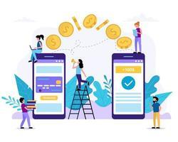 piccole persone che inviano denaro tramite smartphone