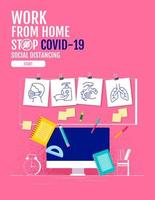 poster con icone di protezione computer e coronavirus