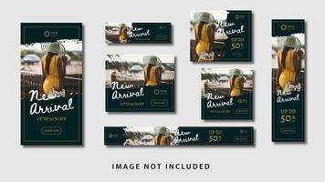set di modelli di moda banner pubblicitari vettore