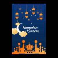 volantino di Ramadan Kareem con moschea arancione e lanterne vettore