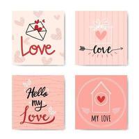 felice giorno di San Valentino con lettere a mano insieme di sfondo