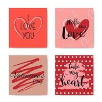 insieme di carta di frase con lettere della mano di San Valentino