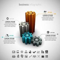 affari infografica con grafico a forma di ingranaggi 3d