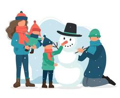 madre che tiene bambino e famiglia che fanno pupazzo di neve vettore